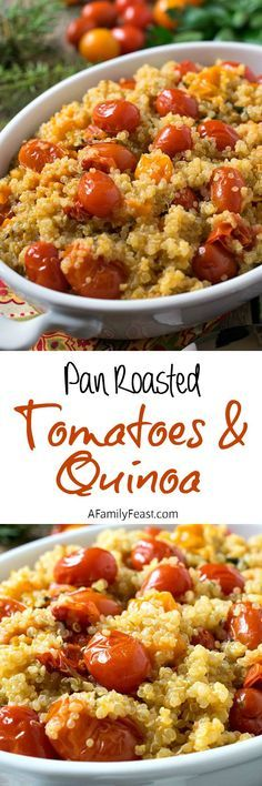 Pan Roasted Tomatoes with Quinoa - An easy and super flavorful way to prepare quinoa. Delicious as a side dish or as a light, meatless meal.