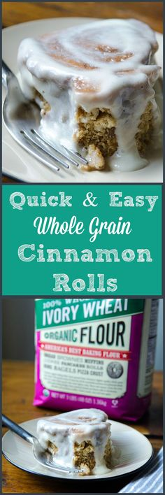 Quick and Easy Cinnamon Rolls made with whole wheat flour. No kneading. No rising. Just plain deliciousness! | Bob's Red Mill