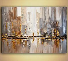 ORIGINAL City moderne Acryl Spachtel Malerei abstrakt Gold