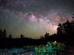 The Milky Way appears in a  30-second-exposure shot