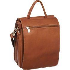 Piel Leather Double Flap-Over Shoulder Bag - Saddle, Brown