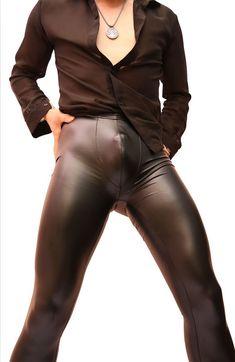 New Sexy Men Stage Dance Wear  Faux Leather Pencil Pants Skinny Pants Fashion Casual Leggings Slim Fit Club Dance Wear FX10095
