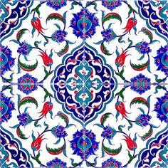 Turkish Iznik tile, vector and seamless islamic pattern with pretty oriental curves and floral details, digital hand drawn symmetric tile design Ceramic Wall Tiles, Tile Art, Ceramic Art, Azulejos Art Nouveau, Art Nouveau Tiles, Turkish Tiles, Turkish Art, Portuguese Tiles, Moroccan Tiles