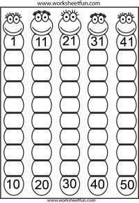 Missing Numbers – Eight Worksheets / FREE Printable Worksheets – Worksheetfun Numbers Kindergarten, Free Kindergarten Worksheets, Numbers Preschool, Free Printable Worksheets, Alphabet Worksheets, Preschool Activities, Math For Kids, Education, Missing Number Worksheets