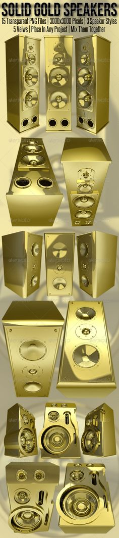 Solid Gold 3D Rendered Speakers