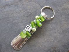 Spoon Handle Keychain in Green The Letter D by SilverwearCreations