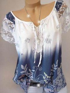 V-Neck Short Sleeve Mid-Length Summer Western T-Shirt