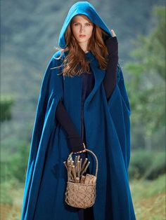 Blue Hooded Cloak Trench Cape Outwear – oshoplive