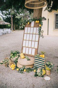 Wedding Trends 25 Vibrant And Inspiring Mediterranean Wedding Ideas Spanish Wedding, Greek Wedding, Yellow Wedding, Seating Plan Wedding, Wedding Signage, Wedding Table, Fall Wedding, Wedding Themes, Wedding Decorations