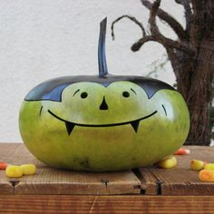 Halloween Gourd Vampire Natural Fall Harvest Spooky Pumpkin Decoration on Etsy, $17.00
