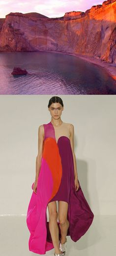 As the sun illuminates these Italian rock cliffs, I can't help but think of Threeasfour's Spring 2013 look. I love the saturation of color as magenta mingles with pumpkin and the perfect shade of wine. This color palette mimics nature in all the right ways and is a perfect combo for any outfit!