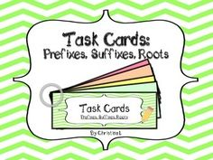 "These task cards are larger than normal (6 or 8 questions each) so students can work on just one card. More advanced students may complete more than one card. A ""user friendly"" method of displaying them is to laminate them, punch a hole in the corner and attach them with a binder ring.Includes: 12 Task Cards  (6-8 questions each) + 12 Answer Keys (Cards with both White and Colored Backgrounds included) Recording sheet to show completion of each cardTopics include: Prefixes (Write the word…"
