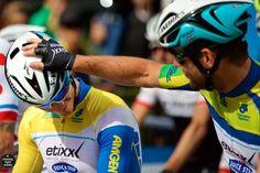 ATOC 2015 Stage 8 start -Mark Cavendish encouraging @alafpolak