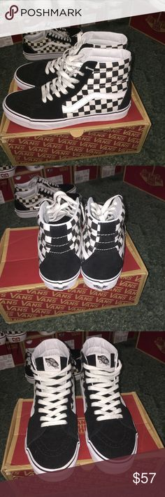 Vans sk8 hi old skool checkered bw Size 9 men s us or 10.5 women s us 9 1e54bd86e