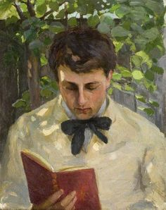 Albert Ranney Chewett (1877-1965), Canadian / A Young Man Reading, oil on canvas .... depicts young man head bent reading book outdoors / Bushey Museum, Reveley Lodge, Bushey Heath, Hertfordshire, UK