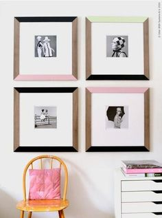 I love the colors on the frames with the pictures.  I could do this with family pictures or use some of my favorite quotes.  I can see shades of lavender with sage green.