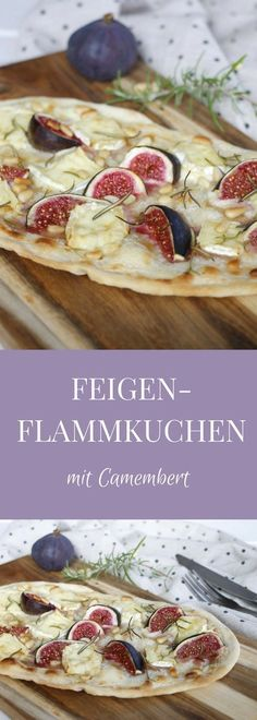 Rezept: Feigen-Flammkuchen mit Camembert A special Flammkuchen recipe is Flammkuchen with figs, Camembert and pine nuts. The Flammkuchen dough is crispy and the honey has the Flammkuchen also a slightly sweet note. Quiches, Vegetarian Recipes, Cooking Recipes, Healthy Recipes, Brunch Recipes, Fall Recipes, Drink Recipes, Flammkuchen Vegan, Queso Feta