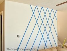 How to paint a Diamond Accent Wall with ScotchBlue tape - Wall Design Accent Walls In Living Room, Accent Wall Bedroom, Bedroom Decor, Living Rooms, Bedroom Ideas, Blue Bedroom, Diy Wall Painting, Painting Designs On Walls, Tape Painting