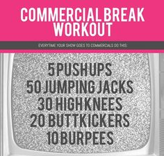 Squeeze this workout in between your favorite TV program! Quick, Exhilarating, and convenient! No excuses Zumba, Commercial Break Workout, Fitness Diet, Health Fitness, Fitness Motivation, Easy Fitness, Health And Wellness, Health And Beauty, Stay In Shape