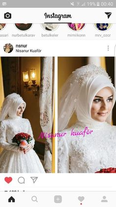This Pin was discovered by fad Hijabi Wedding, Wedding Hijab Styles, Muslim Wedding Dresses, Muslim Brides, Bridal Wedding Dresses, Muslim Women Fashion, Bride Gowns, Groom Dress, Party Dresses