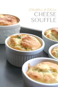 Individual Cheddar & Chive Soufflés via @dreamaboutfood
