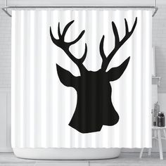Printed using state-of-the-art wide-format printers which offer uncompromising gallery quality. Deer Shower Curtain, Silver Shower Curtain, Elegant Shower Curtains, Colorful Shower Curtain, Fabric Shower Curtains, Country Style Showers, Deer Silhouette, Easy Install, Fabric Design