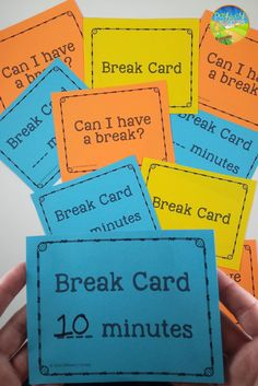 Free break cards to help kids self-regulate their behavior or earn free time with positive choices. It can help reduce negative behaviors by earning or taking a break.