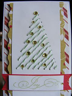 Stitched Christmas tree using baker's twine