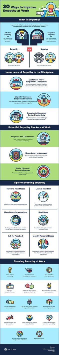 20 Ways to Improve Empathy At Work #Infographic #Empathy