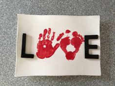 'Love' Plate with kids hand and feet