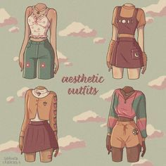 Cartoon Outfits, Anime Outfits, Fashion Design Drawings, Fashion Sketches, Kawaii Drawings, Cute Drawings, Girl Drawing Sketches, Drawing Anime Clothes, Clothing Sketches