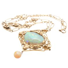 1910 art nouveau 18k yellow gold opal, diamond necklace/brooch
