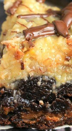 Caramel Stuffed German Chocolate Brownies