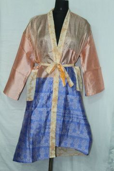 Woman's Patchwork Jacket Dress Indian Shower Bathrobe Silk Sari Kimono Sk-1043 #Handmade #Kimono #AnyOccasionCasual