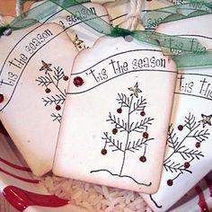 Tis the Season Simple Pleasures Christmas Tags Set of 6. $3.50, via Etsy.