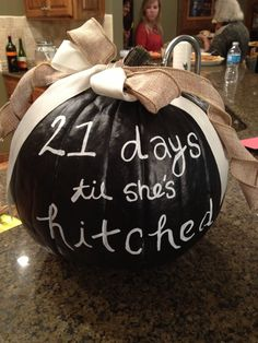 Chalkboard Pumpkin for a Fall Bridal Shower #WeddingCountdown