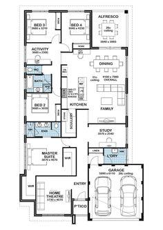 Best House Plans, Dream House Plans, House Floor Plans, House Layout Plans, House Layouts, 4 Bedroom House Plans, Home Design Floor Plans, Bungalow House Design, Floor Layout