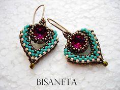 beaded dangle earrings Ideas, Craft Ideas on beaded dangle earrings Seed Bead Jewelry, Seed Bead Earrings, Beaded Earrings, Earring Tutorial, Beaded Jewelry Patterns, Beads And Wire, Bead Weaving, Swarovski, Handmade Jewelry