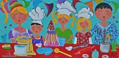 Veelzijdig kleurrijk kunstenares Mir/ Mirthe Kolkman waaronder. deze serie.  kleurrijk kunstwerk  gezellige vrolijke kunst   art schlderij paintings schilderen portretschilderij familie dagelijks tafereel koken feest slingers paty cooking samen kokkerellen samen taart bakken colourful artworks kleurrijke kunst