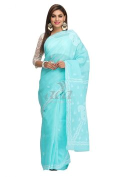 Ada Hand Embroidered Sea Green Cotton Lucknow Chikan Saree With Blouse - A192080 Price Rs.2,290.00 #Ada_Chikan #white lucknowi saree for women #tepchi work sarees #blue chikankari saree #lucknow saree #chiffon chikan saree #chikankari designer sarees #lucknowi dress #chikankari dress designs #off white chikankari saree #georgette chikan sarees #chicken work materials #cotton lucknowi saree #lucknowi kadai saree #white chikan dress material #lucknowi work saree
