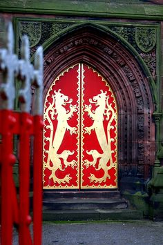 St Giles Church, a masterpiece designed by A.W.N. Pugin the celebrated 19th century architect. These doors feature gilded iron fittings of rampant lions, a device taken directly from the Shrewsbury coat-of-arms.