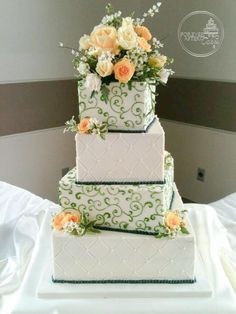 Forever After Cakes - Square Wedding Cake with Green Swirls and Navy Pearls