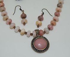 Natural Pink Opal Pendant & beads & hand-made Antique Brass Necklace Set