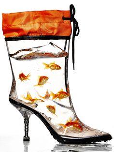 Schuhe Fall's Biggest Trends: Weatherproof Boots - Miu Miu boot Dressing Up Shower Curtain Rods If y Miu Miu, Creative Shoes, Unique Shoes, Funny Shoes, Weird Shoes, Crazy Heels, Shoe Boots, Shoes Heels, Pumps