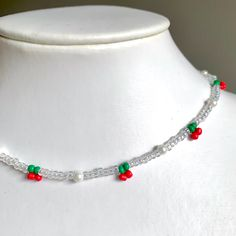 Mini Cherry Beaded Choker Necklace 🍒length is 14in... - Depop Beaded Choker Necklace, Diy Necklace, Beaded Rings, Beaded Bracelets, Diy Choker, Embroidery Bracelets, Diy Earrings, Seed Bead Jewelry, Bead Jewellery