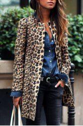 Women's Chic Jewel Neck Leopard Long Sleeve Coat (LEOPARD,M) | Sammydress.com Mobile