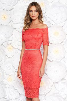 StarShinerS coral occasional midi dress with tented cut from laced fabric with inside lining accessorized with tied waistband, accessorized with tied waistband, small beads embellished details, inside lining, tie back belt, tented cut, 3/4 sleeves, laced fabric, on the shoulders, back zipper fastening