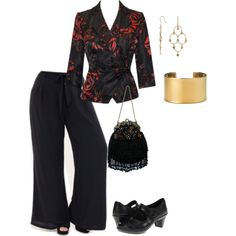 Plus size palazzo pants outfit