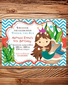 Mermaid Birthday Party Invitation, GIRL, Little Mermaid Birthday Party, Blue, Coral, Chevron Stripes, Printable, Digital