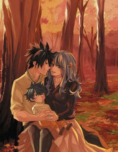 Forest in Fall and Fullbuster family 😍👪💙 Fairy Tail Kids, Fairy Tail Gray, Fairy Tail Funny, Fairy Tail Family, Fairy Tail Couples, Fanfic Fairy Tail, Fairy Tail Gruvia, Fairy Tail Anime, Fairy Tail Photos